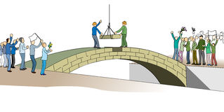 Building a bridge that connects. Illustrating the last stone that is laid to the bridge that united countries and people Royalty Free Stock Images