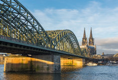 Bridge and the Dom of Cologne Royalty Free Stock Photo