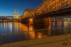 Bridge and the Dom of Cologne. At night. Cologne, Germany Royalty Free Stock Photography