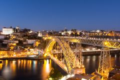 Bridge Dom Luís I, Porto, Portugal. View by night of Bridge Dom Luís I, Porto, Portugal Royalty Free Stock Photography