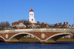 Bridge and Dome #1. The tower of Harvard University's Dunster House and John W. Weeks Bridge over Charles River, in Cambridge, Massachusetts Royalty Free Stock Photo