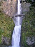 Bridge by Double Waterfall on the Columbia River, Oregon Royalty Free Stock Photos
