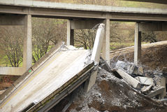 Bridge Down. The remains after the destruction of a large freeway bridge Royalty Free Stock Images