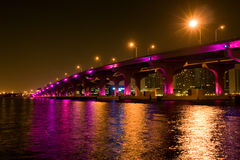 Bridge in downtown Miami. Night view of the bridge in downtown Miami Royalty Free Stock Images