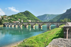 Bridge on Drina. Famous bridge on the Drina in Visegrad, Bosnia and Herzegovina, on a hot summer day stock images