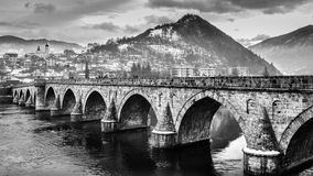 The Bridge on the Drina. Historic bridge in Višegrad, over the Drina River in eastern Bosnia and Herzegovina stock photo