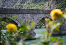 The bridge on the drina. Mehmed Pasa Sokolovic Bridge is a historic bridge in Visegrad, over the Drina River in Bosnia and Herzegovina royalty free stock image