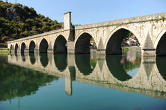 Bridge on Drina river in Visegrad. Republic of Srpska stock images