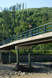 Bridge on the drying river. Bridge over the river in Rajcza, Southern Poland stock images