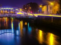 Bridge in Dublin at night Stock Photo