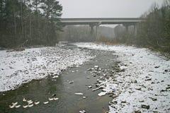 Bridge & Ducks in Snow Stock Photography