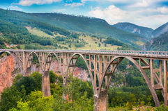 Bridge Durdevica and view Tara river gorge Stock Photography