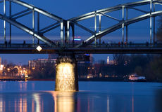 bridge dusk railway Στοκ Φωτογραφίες