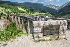 The bridge of Dzhurdzhevich over the river Tara. Montenegro. 04 June, 2015.Tara River Canyon.Montenegro. the bridge of Dzhurdzhevich over the Tara River Canyon Royalty Free Stock Photography