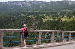 Bridge Dzhurdzhevicha, Montenegro. Panoramic view of the Bridge Dzhurdzhevicha in Montenegro Stock Photo