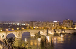 Bridge on Ebro river Stock Photos