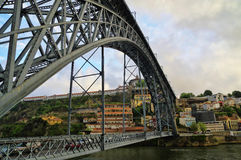 The bridge on edge of Oporto Ribeira in the evening, Portugal Stock Image