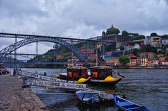The bridge on edge of Oporto Ribeira in the evening, Portugal Royalty Free Stock Photography