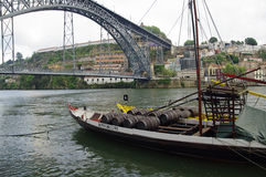 The bridge on edge of Oporto Ribeira in the evening, Portugal Stock Photography