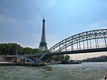 Bridge and Eiffel tower in Paris capital of France Stock Photo