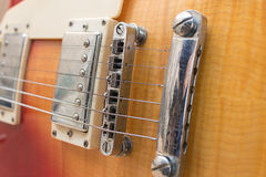 Bridge electric guitar strings Royalty Free Stock Image