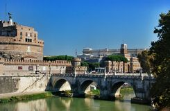 Bridge Elio and castle Sant Angelo, Rome Italy Stock Image