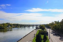 Dnieper River, Dnepropetrovsk. Bridge and embankment on the Dnieper River, Dnepropetrovsk Royalty Free Stock Images