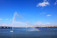 Dnipro River, Dnepropetrovsk. Bridge and embankment on the Dnieper River, Dnepropetrovsk Stock Photo