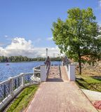 Bridge on the embankment of the Upper Pond. Kaliningrad, Russia Stock Image