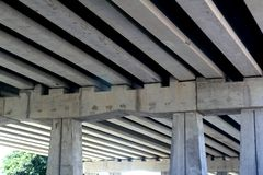 Bridge engineery beams concrete columns Royalty Free Stock Images