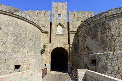 Bridge entrance into Rhodes fortified citadel Stock Images