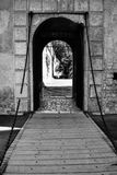 Bridge for entry to the castle stock image