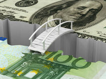 Bridge between euro and dollar Stock Photos