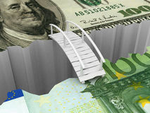 Bridge between euro and dollar Stock Photos