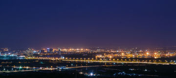 The bridge evening. Night in the suburbs of Ho Chi Minh City Royalty Free Stock Photos