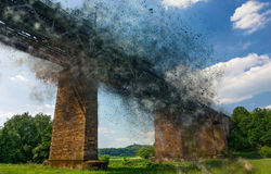 Bridge Exploding. Royalty Free Stock Photo