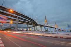 Bridge, expressway, road, light,. The beauty of the bridge and lighting Royalty Free Stock Photography