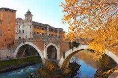 Bridge of Fabricius in Rome Stock Image