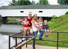 Bridge and Family of Five royalty free stock photography