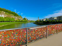 The bridge fence covered with locks in Salzburg. Salzburger Land, Austria Royalty Free Stock Image