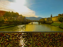 The bridge fence covered with locks in Salzburg. Salzburger Land, Austria Stock Images