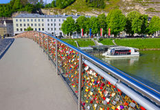 The bridge fence covered with locks in Salzburg. Salzburger Land, Austria Royalty Free Stock Photos