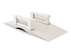 Bridge with a fence on white background. 3d rendering.  Royalty Free Stock Photos