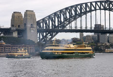 Bridge and Ferries. Sydney Harbour Bridge and Ferries Stock Photo