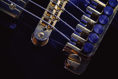 Bridge and Fine Tuners on Electric Guitar Royalty Free Stock Photo