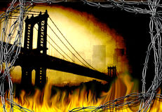 Bridge in fire. Manhattan bridge. Fire and barbwire Royalty Free Stock Images