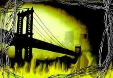 Bridge in fire. Manhattan bridge. Fire and barbwire Royalty Free Stock Photography