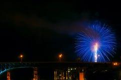 Bridge and firework Stock Images