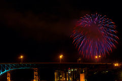 Bridge fireworks Royalty Free Stock Images
