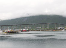 Bridge through fjord in Tromso Royalty Free Stock Photos